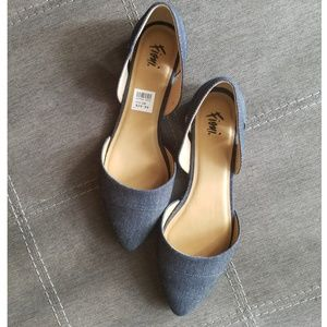 DENIM POINTED TOE FLATS